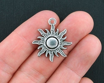 8 Sun Charms Antique  Silver Tone Large with Beautiful Detail - SC1846