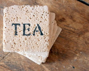 TEA Coaster Set - Natural Tumbled Marble - Love Home Decor Valentine's Day Holiday Gift for the Tea Lover