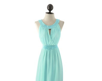 SALE Dress Seafoam Mint Green Maid of Honor Gown Great Gatsby Elven Victorian Medieval Edwardian Flowy Egyptian Cleopatra Blue Aqua