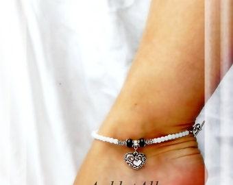 Opposites Attract Black n White Anklet Heart Ankle Bracelet Silver Ankle Bracelet