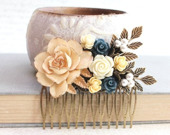 Rose Hair Comb Cream Ivory Rose Comb Wedding Hair Accessories Something Blue Yellow Flower Comb Navy Blue Rose Pearl Bridal Hair Comb