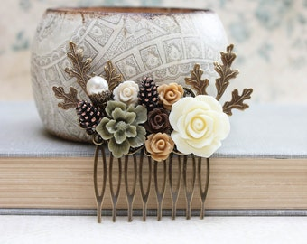 Bridal Hair Comb Woodland Wedding Pearl Rustic Nature Inspired Branch Autumn Fall Pine cones Leaves Ivory Cream Roses Khaki Green Brown Rose