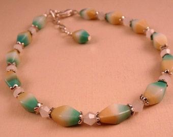 Ankle Bracelet Beaded Anklet Glass Anklet Beaded Jewelry Silver Jewelry Crystal Anklet Crystal Jewelry  White Jewelry Aqua Jewelry