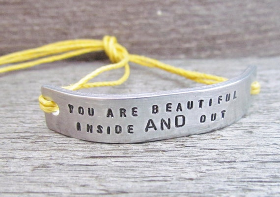 Bracelet ONE You Are Beautiful Inside And Out Custom Hand Stamped Jewelry Name Tie On Hemp Cord Personalized Inspirational Friendship