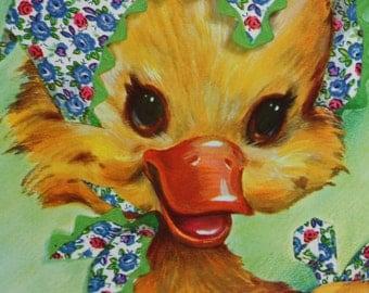 Vintage Oversized Duckling Coby Card Get Well Ephemera Scrap Booking Child's Room Nursery Decor