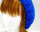 Hand Knit Slouchy Hat, Loose Fitting Beanie, Lightweight Knit Blue Hat
