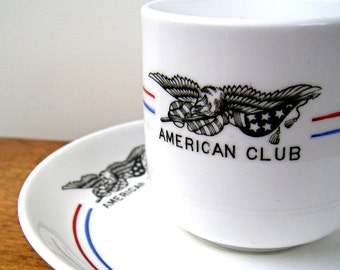 American Club Cup and Saucer Antique Tuscan China
