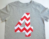 Size 4T Boys 4th Birthday Shirt Number 4 Tshirt Gray Short Sleeve Red White Chevron Applique Ready to Ship Circus Party