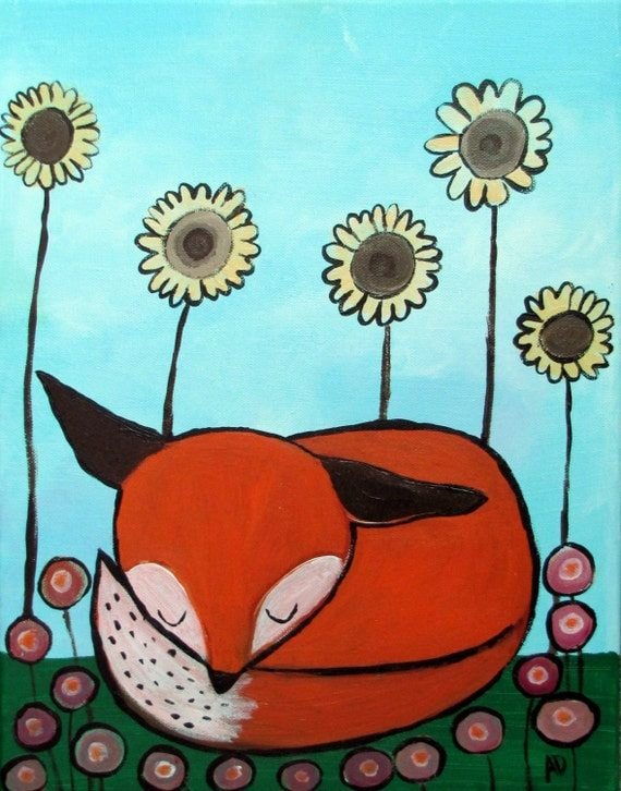 Cute Fox Original Childrens Painting Art For Kids Room Decor