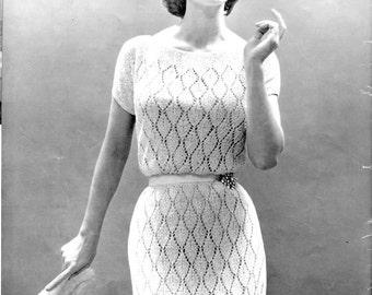 1950's Vintage Knit Dress Pattern - Bernat No. 1541
