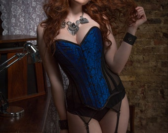 BESPOKE Electric Blue brocade and sheer overbust corset