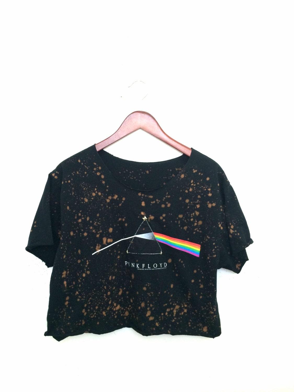 Pink floyd crop top tshirt in acid wash with studs black for Custom acid wash t shirts