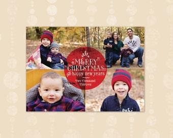 Printable Photo Collage Christmas Card (Digital File)