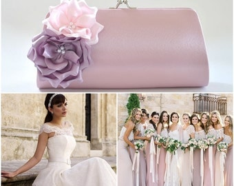 Dusty Rose - Lilac - Pale Pink - Bridesmaid Clutch / Bridal clutch / Wedding clutch / Custom clutch