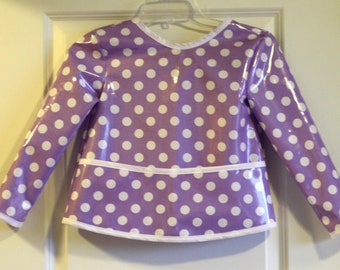 Long Sleeve Kids Art Smock Craft Smock in Lavender with Polka Dots