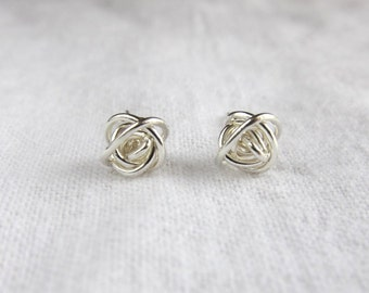 Love Knot studs. Silver knot posts. Bridesmaids earrings. Tie the knot. Small studs.
