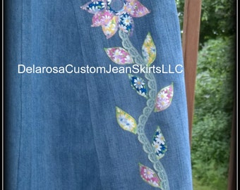 DELAROSA Custom fabric and lace Flower stem and leaves Appliqué's for your jean skirt (add on item only)