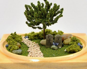 Reserved - Missing You - Memorial Garden Cemetery Garden Diorama Cemetery Terrarium Mini Garden Genealogy Gift