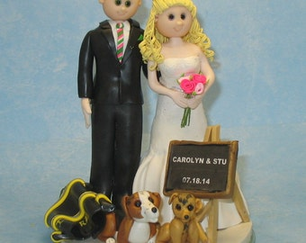Wedding Cake Topper Fireman Groom Teacher Bride