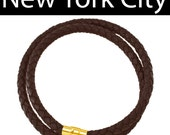 "6mm Brown Braided Leather Wrist Necklace Choker 14"" - 36"" Gold Plated Magnetic Clasp. You Choose Length. LCB0600BRN_MAG"