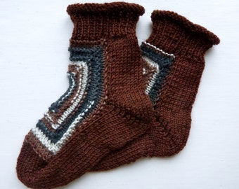 Funky Square: Hand-knit Toddler socks, size 1-2 years