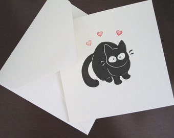 Mini Black Cat Card - Blank Note Card with Envelope - Valentine