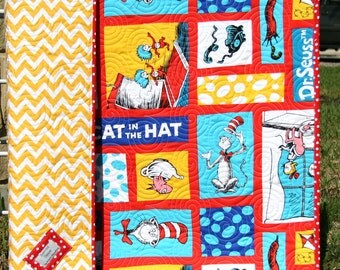 Dr Seuss Quilt, Cat In The Hat Dr Seuss Crib Bedding, Nursery Cot, Toddler Bed, Whimsy Modern, Child Youth Shower Gift Boy or Girl, Red Blue