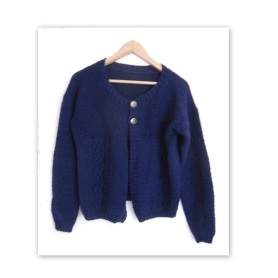 HALF Price , Navy blue cardigan , CLEARANCE SALE , hand knit cardi , knitted casual wear , cable sweater , womens outer wear , reduced price