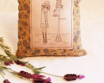 Wanderer with Bird Friend LAVENDER and Essential Oil PILLOW