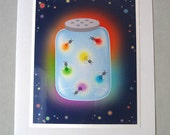 Rainbow Fireflies Blank Greeting Card, 5x7, LGBT Pride, Gay and Lesbian, Summer Greeting Card