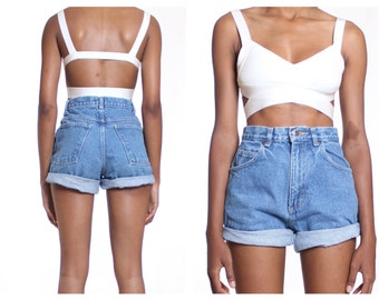 "All Sizes  "" Rolled Up""  High Waist Shorts Plus Sizes"