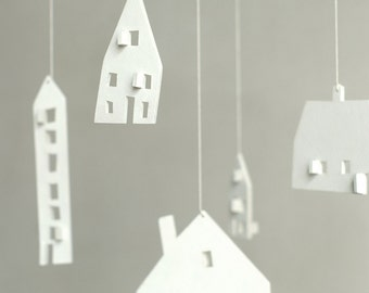 SALE - baby mobile - nursery mobile - baby crib mobile - wooden mobile- house mobile - CLOUD HOUSES- ready to ship