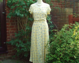 Vintage Yellow Tea/Day Dress UK 10 US 6 to 8