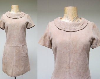 Vintage 1960s Dress / 60s Mod Tan Suede Drop Waist Mini Dress / XS - Small