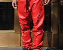 Zipper Seam Detail Red Faux Leather Drop Crotch Harem Pants / Mens Red Leather Joggers by GAG THREADS