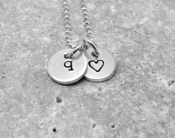 Tiny Initial Necklace, All Letters Available, Letter q Necklace, Heart Necklace, Charm Necklace, Sterling Silver Jewelry, Personalized