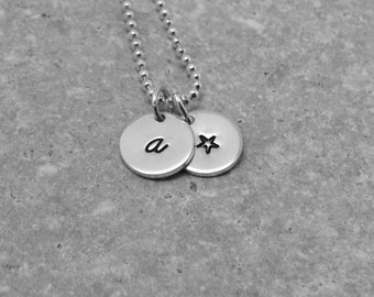 Letter a Necklace, Sterling Silver Jewelry, Personalized Star Necklace, Hand Stamped Jewelry, Initial Necklace, Letter a Jewelry, Charm