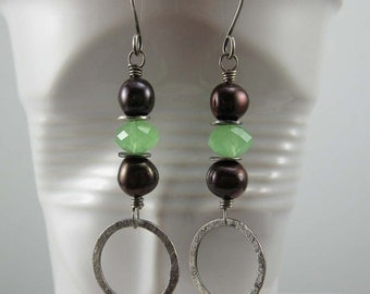 Brown and Green Sterling Silver Earring, Fresh water pearl and crystal