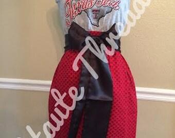 TTU Texas Tech Red Raiders Strapless Tube Red Black Gray Gameday Football Dress with Black Sash Bow - X-Small XS