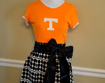 Tennessee VOLS Volunteers Short Sleeved Football Gameday Glitter Dress with Black Sash Bow - Small 2 4