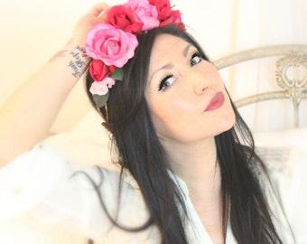 Rose Flower Crown Large, Wedding Tiara, Bridal Hair Wreath, head wreath, fairy, woodland - Kiss - by DeLoop