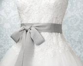 Silver Gray Bridal Sash - Romantic Luxe Grosgrain Ribbon Sash - Wedding Sashes -  Bridal Belt