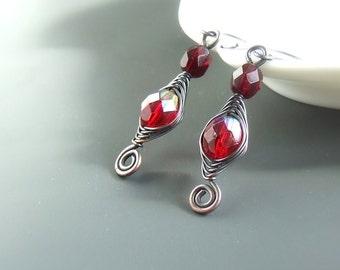 Red dangle earrings, elegant feminine jewelry, copper rustic earrings, handmade glass jewelry, women gift