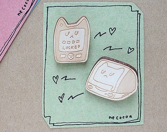laser cut wood brooch - iMyac cat meowing computer & iPrrrone wooden Biscuit