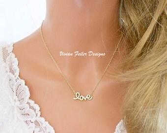 LOVE Necklace Gold Cursive Cubic Zirconia Diamonds Celebrity Jewelry Teresa Guidice