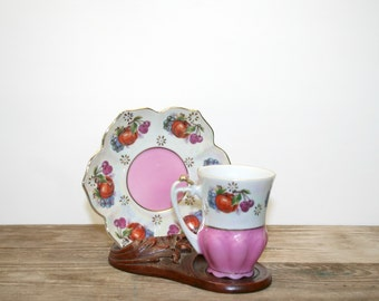 Vintage Demitasse Cup & Saucer, Pink and White Tea Cup
