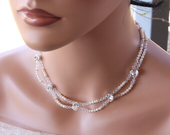 RHINESTONE CHOKER BRIDAL Necklace, with Rhinestones, Double Stranded Wedding Necklace, Freshwater Pearls, Victorian Style, Custom