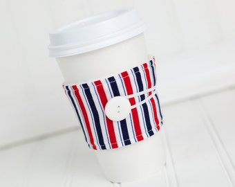 Coffee Sleeve Cozy Red White and Blue Stripe Print Unisex Reusable Cup Cover