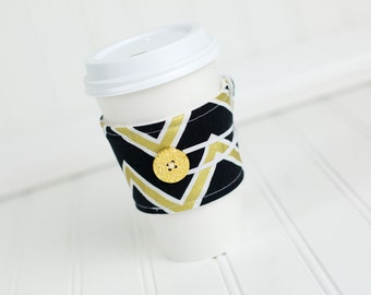 Black Gold Chevron Reusable Fabric Coffee Sleeve,Coffee Cozy, Women's Stocking Stuffer Gift Idea