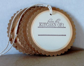 et of 6 Hand Stamped Cookie Tags, Hand Stamped Baked Goods Tags, Hand Stamped Mason Jar Tags